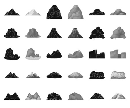 Different mountains black,monochrome icons in set collection for design.Mountains and landscape vector symbol stock web illustration.