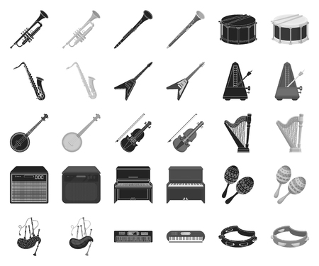 Musical instrument black,monochrome icons in set collection for design. String and Wind instrument vector symbol stock web illustration.