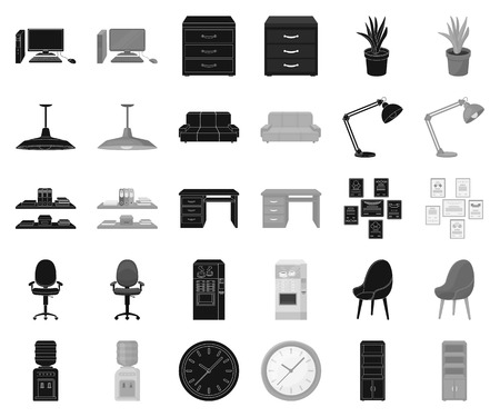 Interior of the workplace black,monochrome icons in set collection for design. Office furniture vector symbol stock web illustration.