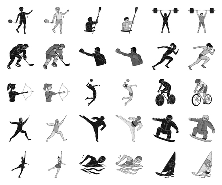 Different kinds of sports black,monochrome icons in set collection for design. Athlete, competitions vector symbol stock web illustration.