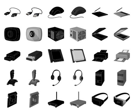 Personal computer black,monochrome icons in set collection for design. Equipment and accessories vector symbol stock web illustration.
