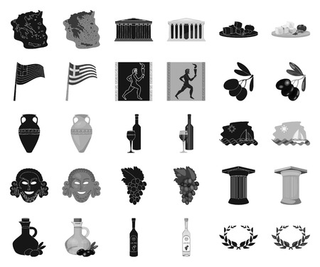 Country Greece black,monochrome icons in set collection for design.Greece and landmark vector symbol stock web illustration.