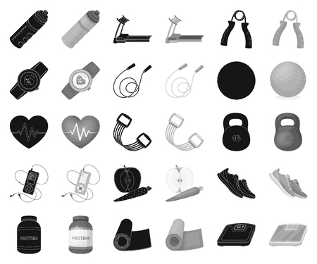 Gym and training black,monochrome icons in set collection for design. Gym and equipment vector symbol stock illustration.