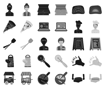 Pizza and pizzeria black,monochrome icons in set collection for design. Staff and equipment vector symbol stock web illustration.