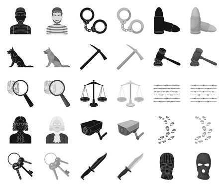 Prison and the criminal black,monochrome icons in set collection for design.Prison and Attributes vector symbol stock illustration.