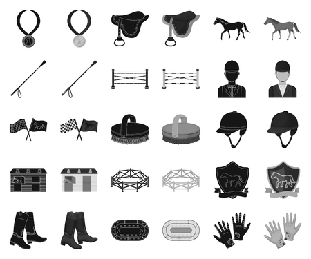 Hippodrome and horse black,monochrome icons in set collection for design. Horse Racing and Equipment vector symbol stock web illustration. Ilustrace