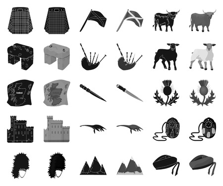 Country Scotland black,monochrome icons in set collection for design. Sightseeing, culture and tradition vector symbol stock web illustration.  イラスト・ベクター素材