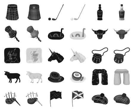 Country Scotland black,monochrome icons in set collection for design. Sightseeing, culture and tradition vector symbol stock web illustration. Stock Illustratie