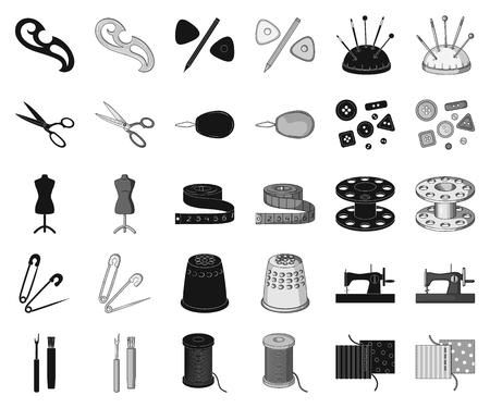 Nähen, Atelier schwarz, monochrome Icons in Set-Kollektion für Design. Werkzeugsatzvektorsymbolvorrat-Netzillustration.