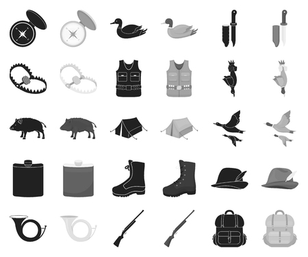 Hunting and trophy black,monochrome icons in set collection for design. Hunting and equipment vector symbol stock web illustration. Çizim