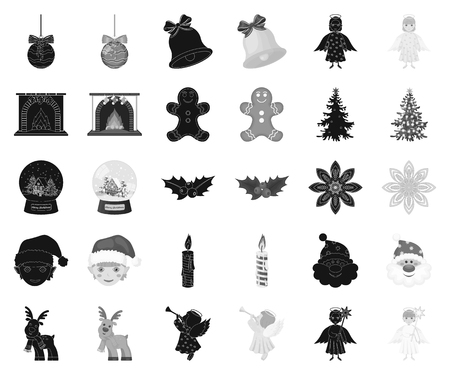 Christmas attributes and accessories black,monochrome icons in set collection for design. Merry Christmas vector symbol stock web illustration.