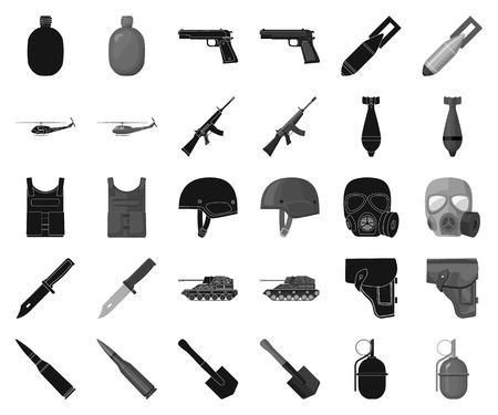 Army and armament black,monochrome icons in set collection for design. Weapons and equipment vector symbol stock web illustration.