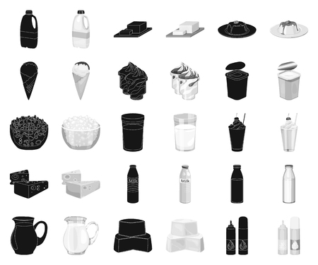 Milk product black,monochrome icons in set collection for design.Milk and food vector symbol stock web illustration.
