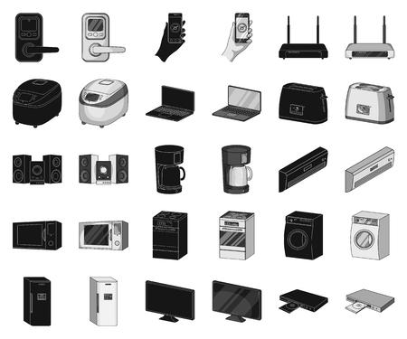 Smart home appliances black,monochrome icons in set collection for design. Modern household appliances vector symbol stock illustration. Illustration