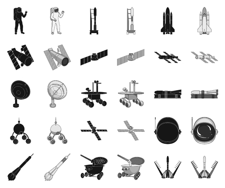 Space technology black,monochrome icons in set collection for design.Spacecraft and equipment vector symbol stock web illustration.