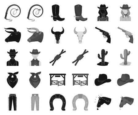Rodeo, competition black,monochrome icons in set collection for design. Cowboy and equipment vector symbol stock web illustration. Ilustrace