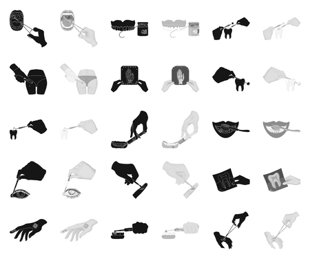 Manipulation by hands black,monochrome icons in set collection for design. Hand movement in medicine vector symbol stock illustration.