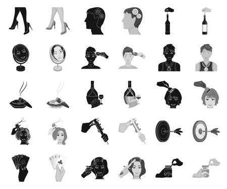 Manipulation by hands black,monochrome icons in set collection for design. Hand movement vector symbol stock illustration. Vettoriali