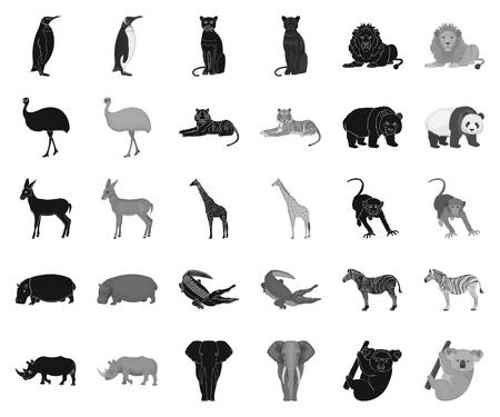 Different animals black,monochrome icons in set collection for design. Bird, predator and herbivore vector symbol stock web illustration.