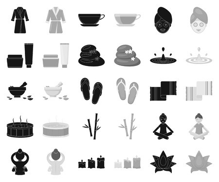 Spa salon and equipment black,monochrome icons in set collection for design. Relaxation and rest vector symbol stock web illustration. Çizim