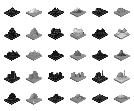 Mountains, massive black,monochrome icons in set collection for design. The surface of the earth vector isometric symbol stock web illustration. Illusztráció