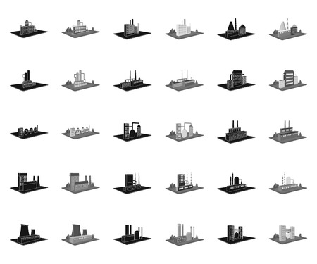 Factory and plant black,monochrome icons in set collection for design. Production and enterprise vector isometric symbol stock web illustration. Ilustracja