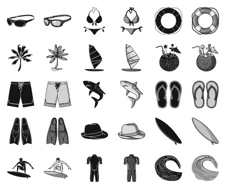 Surfing and extreme black,monochrome icons in set collection for design. Surfer and accessories vector symbol stock web illustration.