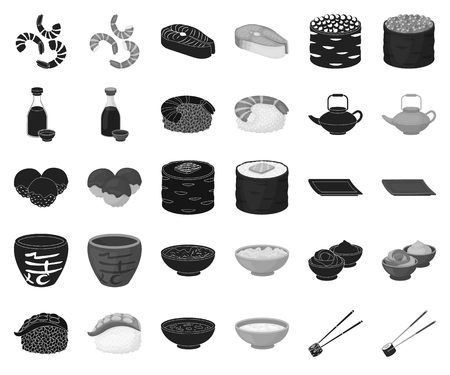 Sushi and seasoning black,monochrome icons in set collection for design. Seafood food, accessory vector symbol stock web illustration.