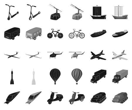 Verschiedene Arten von Transport schwarz, einfarbige Symbole in Set-Sammlung für Design. Auto- und Schiffsvektorsymbolvorrat-Netzillustration.