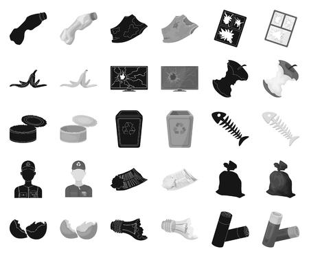 Ordures et déchets noirs, icônes monochromes dans la collection de jeu pour la conception. Illustration de stock de symbole de vecteur d'ordures de nettoyage. Vecteurs