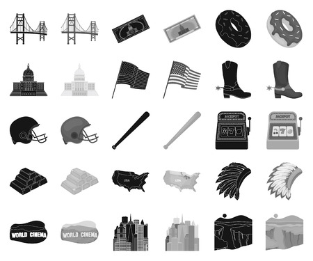 USA country black,monochrome icons in set collection for design.Travel and attractions vector symbol stock web illustration.