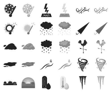 Different weather black,monochrome icons in set collection for design.Signs and characteristics of the weather vector symbol stock web illustration.