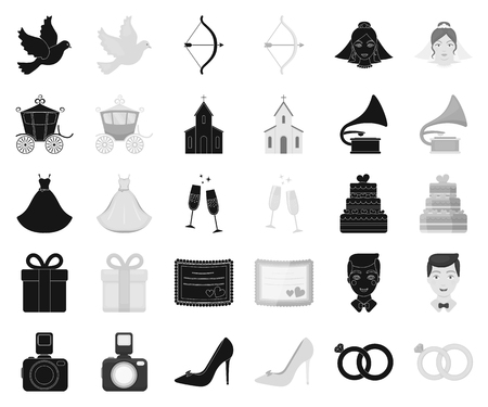 Wedding and Attributes black,monochrome icons in set collection for design.Newlyweds and Accessories vector symbol stock web illustration.
