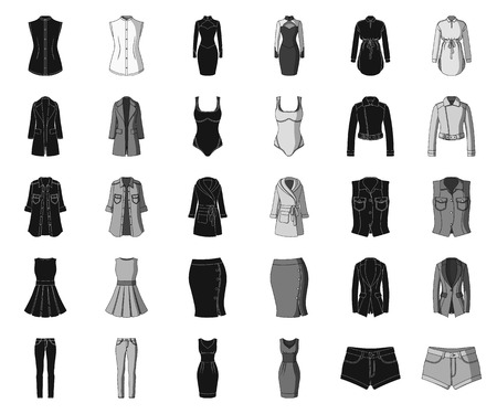 Womens Clothing black,monochrome icons in set collection for design.Clothing Varieties and Accessories vector symbol stock web illustration.