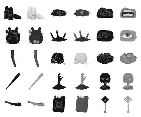 Zombies and Attributes black,monochrome icons in set collection for design. Dead man vector symbol stock web illustration. Illustration