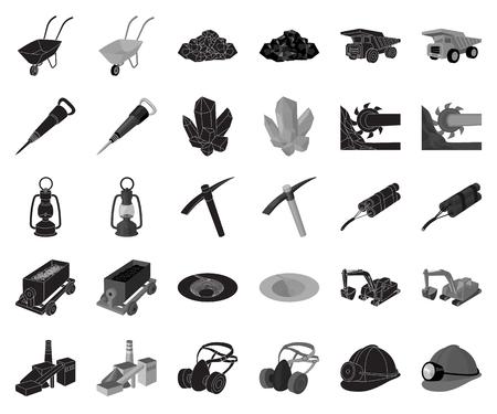 Mining industry black,monochrome icons in set collection for design. Equipment and tools vector symbol stock web illustration. Vektoros illusztráció