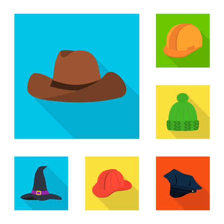 Isolated object of fashion and profession sign. Collection of fashion and cap vector icon for stock. Illustration