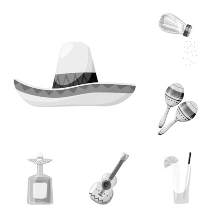 Isolated object of fajita and fiesta symbol. Collection of fajita and celebration stock symbol for web.