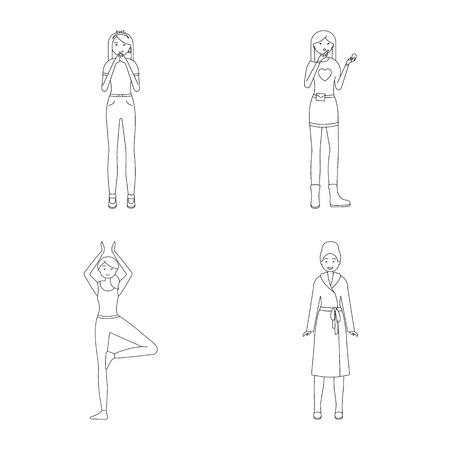 Vector design of posture and mood icon. Collection of posture and female vector icon for stock. Standard-Bild - 124734490