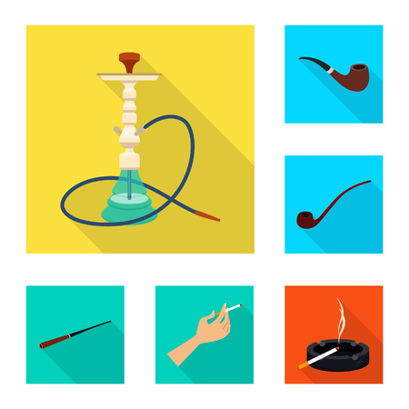 Vector illustration of smoke and statistics logo. Set of smoke and stop vector icon for stock. Illustration