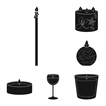 Vector design of candlelight and decoration   icon. Collection of candlelight and wax vector icon for stock. Иллюстрация