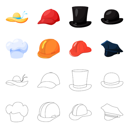 Isolated object of clothing and cap icon. Collection of clothing and beret stock symbol for web. Vectores