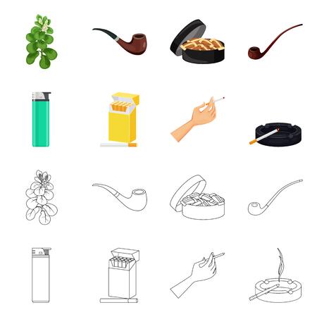 Isoliertes Objekt aus Abfall und Stoppsymbol. Sammlung von Abfall- und Gewohnheitsaktiensymbolen für das Web.