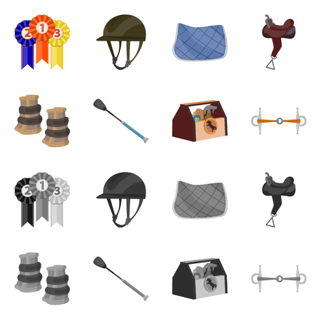 Vector illustration of equipment and riding sign. Set of equipment and competition stock symbol for web.