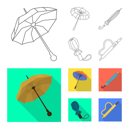 Vector design of protection and closed logo. Collection of protection and rainy stock vector illustration.