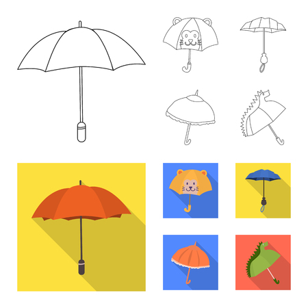 Vector illustration of protection and closed logo. Set of protection and rainy stock symbol for web.