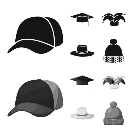Disegno vettoriale di abbigliamento e simbolo del berretto. Collezione di abbigliamento e illustrazione vettoriale d'archivio berretto. Vettoriali