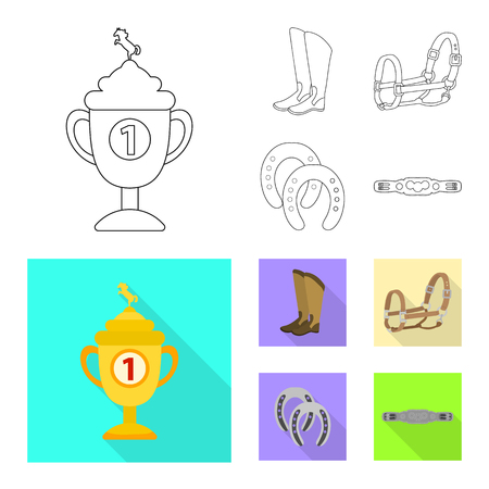 Vector illustration of equipment and riding logo. Set of equipment and competition stock vector illustration.