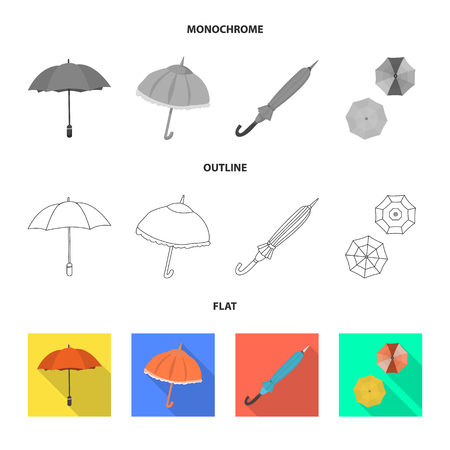 Vector design of protection and closed sign. Set of protection and rainy vector icon for stock.
