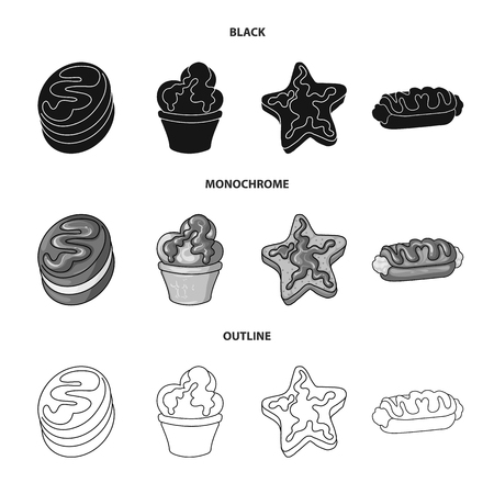 Vector design of confectionery and culinary icon. Collection of confectionery and product stock vector illustration.